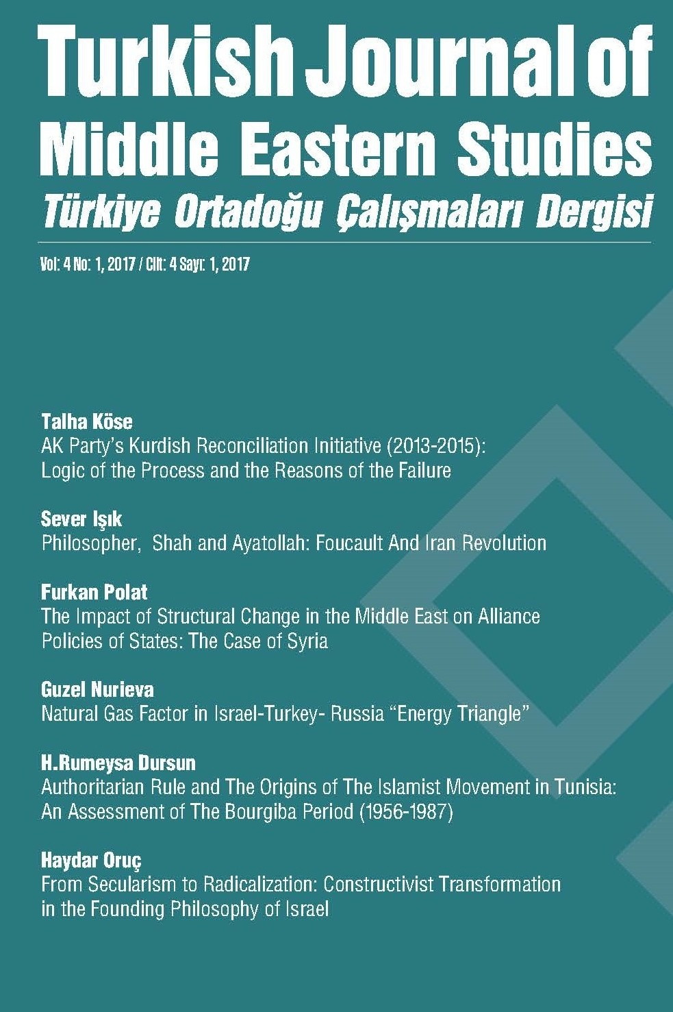 Turkish Journal of Middle Eastern Studies