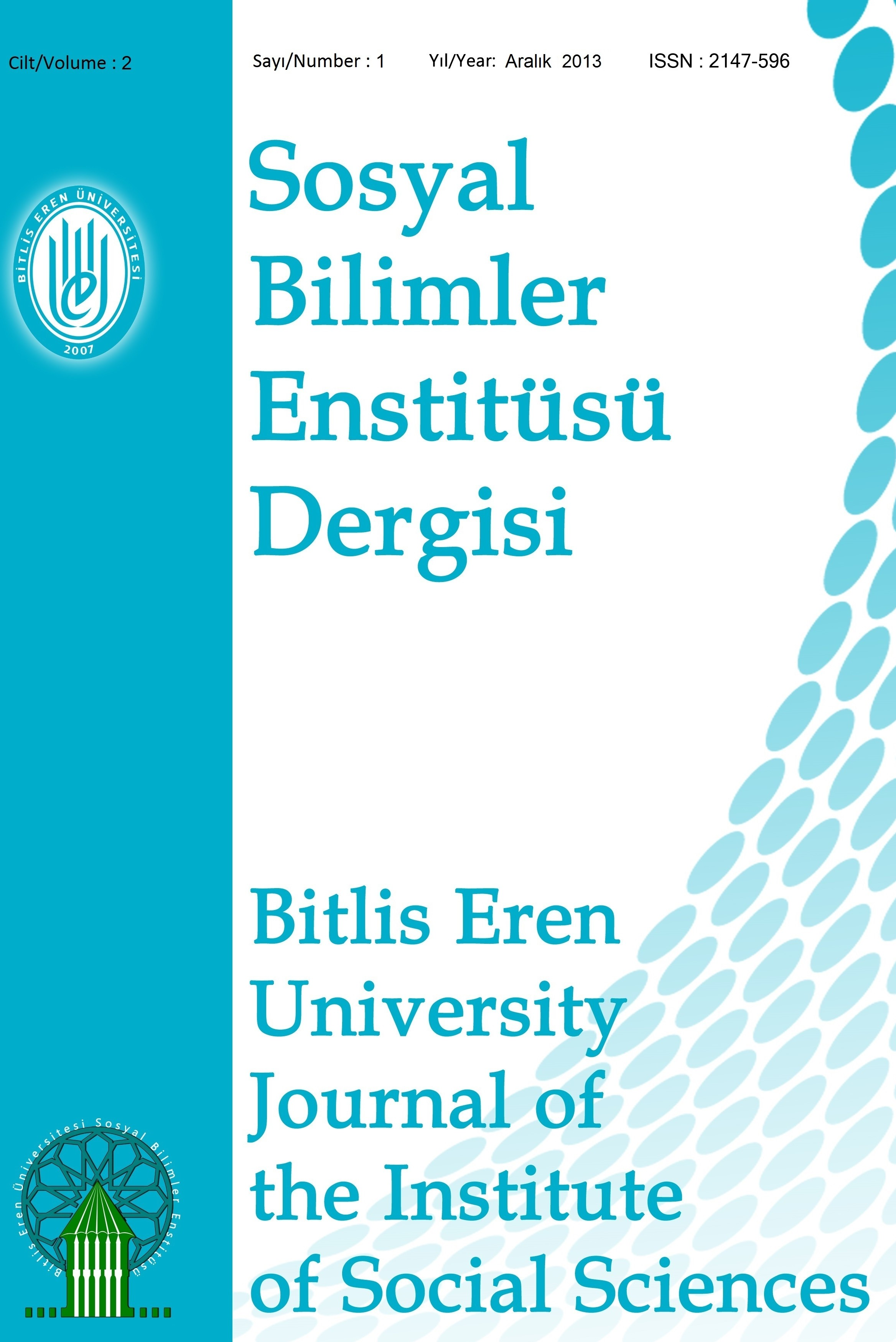 Bitlis Eren Üniversitesi Sosyal Bilimler Enstitüsü Dergisi
