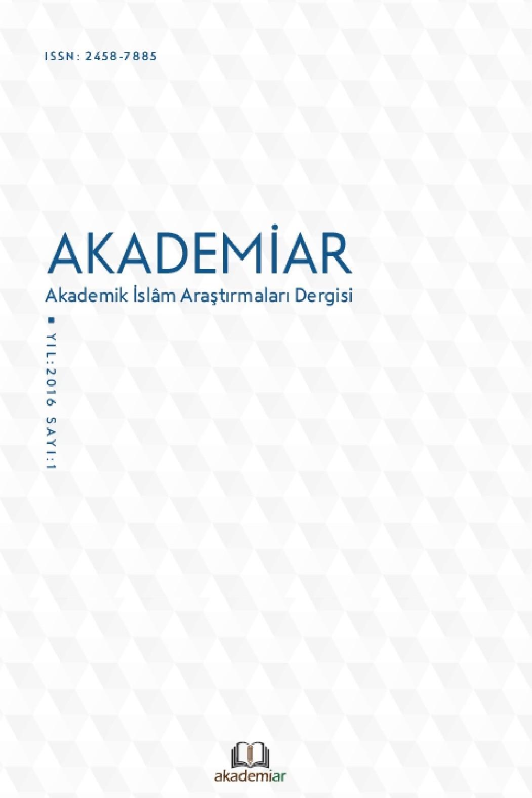 AKADEMİAR Akademik İslam Araştırmaları Dergisi